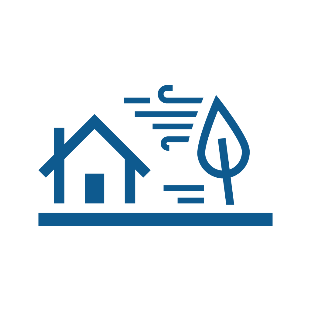 icon of a house being blown by wind with tree
