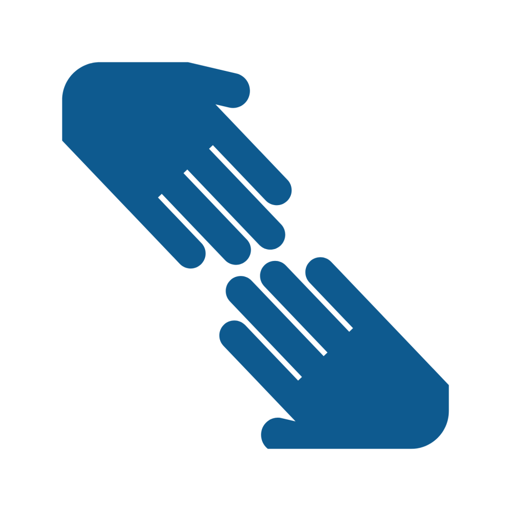 icon of two outstretched hands reaching towards each other