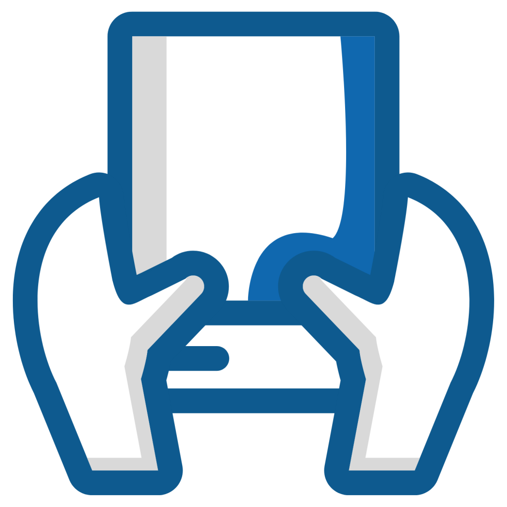 icon of outlines of hands holding blank paper