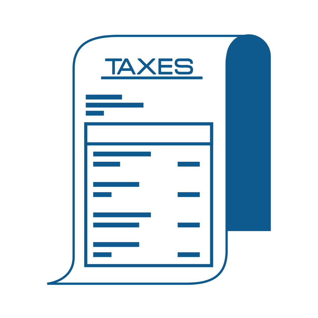 icon of a piece of paper saying taxes
