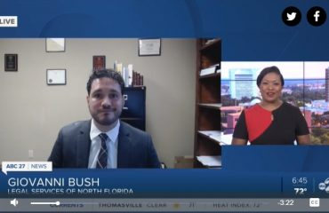 attorney gio bush talking with wtxl about cdc eviction moratorium. screenshot of video.